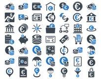 Euro bankowość ikony Obraz Royalty Free