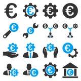 Euro bankowości usługa i biznesu narzędzi ikony Obrazy Royalty Free