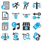 Euro bankowości usługa i biznesu narzędzi ikony Obraz Royalty Free