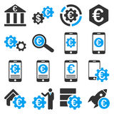 Euro bankowości usługa i biznesu narzędzi ikony Obrazy Stock