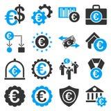 Euro bankowości usługa i biznesu narzędzi ikony Fotografia Stock
