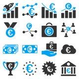 Euro bankowości usługa i biznesu narzędzi ikony Zdjęcia Royalty Free