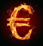 Euro bankruptcy. Burning Euro symbol, concept of financial crise Royalty Free Stock Photography