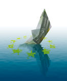 Euro bankruptcy. Concept - ship made of 100 euro banknote sinking in water Royalty Free Stock Photos
