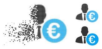 Euro banquier tramé pointillé par poussière Icon illustration de vecteur