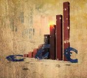 Euro. Bar chart with euro symbols Stock Photo