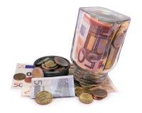 Euro barattolo Fotografia Stock Libera da Diritti