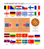 Euro Basket 2013 Flags Stock Images