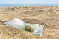 Euro on the beach. Stock Photos