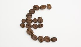 Euro beans. An euro symbol made with java beans Stock Photos