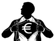 Euro Bedrijfsmens Superhero die Overhemdsborst scheuren royalty-vrije illustratie