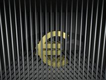 Euro Behind Bars. 3d render illustration of an imprisoned euro symbol Royalty Free Stock Photography