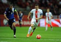 EURO 2016 Bepalende woorden Polen versus Gibraltar Stock Foto's