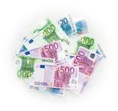 Euro berechnet Eurobanknotengeld Währung der Europäischen Gemeinschaft Lizenzfreie Stockfotografie