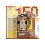 Euro Bill AC Electrical Socket. A grounded European (type F) electric socket with 50 euro bill, depicting the price of electricity Royalty Free Stock Images