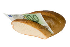 Euro bill in a baguette. One-hundred euro bill in a baguette isolated on white (money sandwich Stock Photography
