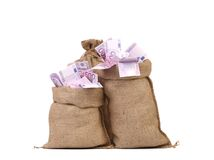 Euro bill in big sacks. Royalty Free Stock Image