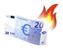 Euro Bill Burning. Illustration of a cartoon euro bill burning, symbolizing crash of european economy area, debt crisis and economic depression. Imaginary Stock Photography