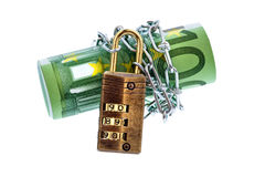 100 euro bill with chain Royalty Free Stock Photo