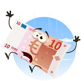Euro Bill Character Falling Royalty Free Stock Images