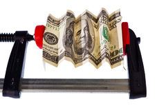 Euro bill in clamp Royalty Free Stock Photography