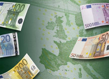 Euro bill collage and Europe map. Horizontal format Stock Image