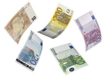 Euro bill collage isolated on white. Horizontal format Royalty Free Stock Images
