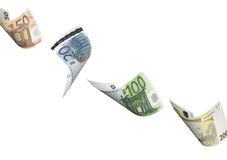 Euro bill collage isolated on white. Horizontal format Stock Images