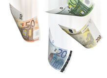 Euro bill collage isolated on white. Horizontal format Stock Image