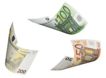 Euro bill collage isolated on white. Horizontal format Royalty Free Stock Photos