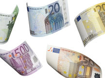 Euro bill collage isolated on white. Horizontal format Stock Photography