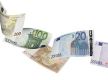 Euro bill collage isolated on white. Horizontal format Royalty Free Stock Photo