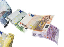 Euro bill collage isolated on white. Horizontal format Stock Photo