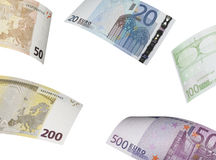 Euro bill collage isolated on white. Horizontal format Royalty Free Stock Image