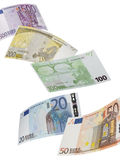 Euro bill collage isolated on white. Vertical format Stock Images