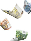 Euro bill collage isolated on white. Vertical format Stock Photos