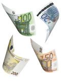 Euro bill collage isolated on white. Vertical format Stock Photo