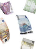 Euro bill collage isolated on white. Vertical format Stock Photography