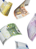 Euro bill collage isolated on white. Vertical format Royalty Free Stock Image