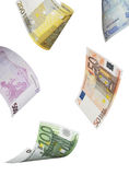 Euro bill collage isolated on white. Vertical format Royalty Free Stock Images