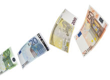 Euro bill collage  on white Stock Photo