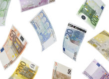 Euro bill collage  on white Stock Photos