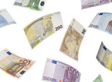 Euro bill collage  on white. Horizontal format Stock Images
