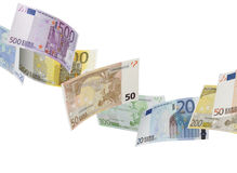 Euro bill collage  on white. Horizontal format Stock Photography