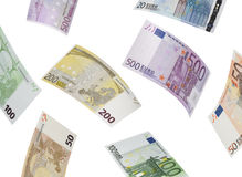 Euro bill collage  on white Royalty Free Stock Image