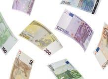 Euro bill collage  on white. Horizontal format Royalty Free Stock Image