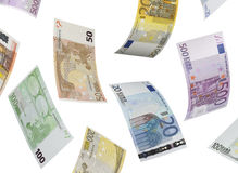 Euro bill collage  on white Royalty Free Stock Photos