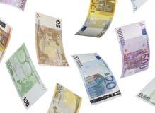 Euro bill collage  on white. Horizontal format Royalty Free Stock Photos