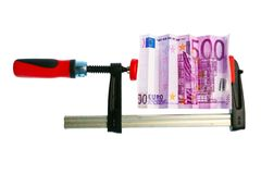 Euro- Bill comprimido na braçadeira Imagem de Stock Royalty Free