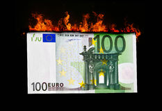 Euro bill in flames Stock Photography